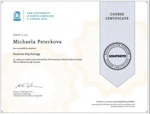 Certifikát z kurzu pozitivní psychologie